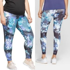 Floral Print Active Leggings with Crossover Panel